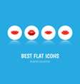 flat icon lips set of mouth pomade lipstick and vector image vector image
