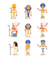flat set of cartoon egyptian pharaohs and vector image