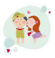 girl kisses a boy and gives a present to him girl vector image vector image