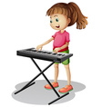 Girl playing with electronic piano vector image vector image