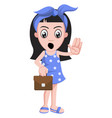 girl with suitcase on white background vector image vector image