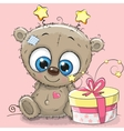 Greeting card cute Teddy Bear with gift vector image vector image
