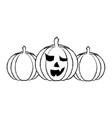 halloween three pumpkin scary decoration vector image vector image