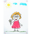 hand drawing of old woman in glasses and pink vector image vector image