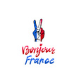 hand victory for France bonjour vector image vector image