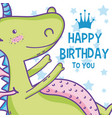 happy birthday card cute cartoons vector image