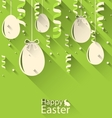 Happy Easter Green Background with Eggs and vector image