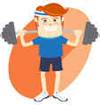 Hipster funny man lifting barbell Flat style vector image vector image