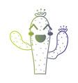 line cute happy cactus plant vector image vector image