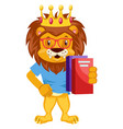 lion with notebooks on white background vector image vector image