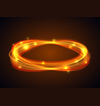 magic gold circle glowing fire ring trace vector image