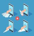 mobile medicine help online pharmacy app vector image vector image
