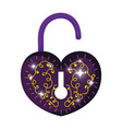 mystical padlock with heart shape vector image