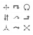 nine flat modern arrows vector image vector image