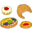 pastry croissants fruit tart bagel and jam vector image