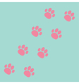 Paw print track diagonal Blue and pink vector image vector image