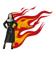 purgatory nun in fire cartoon character vector image vector image