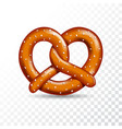 realistic tasty pretzel on the white transparent vector image vector image