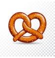 Realistic tasty pretzel on white transparent