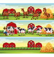 Scenes in the farm with farmer and animals vector image vector image