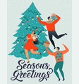 seasons greetings people young men and women vector image