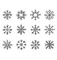 set hand drawn snowflakes new year and winter vector image vector image