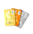 Set of detailed glossy credit cards with two sides vector image
