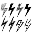 set of sketchy lightning vector image vector image