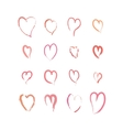 set pink hand drawn hearts on white vector image vector image