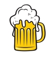 Tankard of beer with a big frothy head vector image vector image