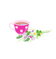tea cup and wildflowers isolated on white vector image