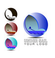 the logo under sail water sail and boat are vector image vector image