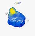 Travel around the world Uruguay Watercolor map vector image