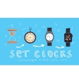 Types of alarms clocks timers and watches set vector image vector image