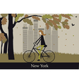 woman on bicycle in new york vector image vector image