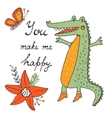 You make me happy Cute hand drawn card with vector image vector image