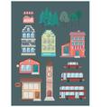 Set of buildings car bus coffee shop vector image