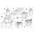 Hand drawn gift boxesChristmas gifts vector image