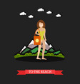 woman in swimsuit in flat vector image