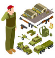 armor weapon collection and accessorises soldier vector image vector image