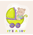 Baby Bear in Carriage - for Baby Shower vector image vector image
