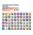 beauty and spa icons set in flat design with long vector image