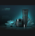 black cosmetic product background luxury beauty vector image