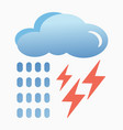 blue cloud with lightning and rain icon vector image