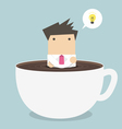 businessman thinking in a coffee cup vector image vector image