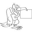 Cartoon buzzard holding a sign vector image vector image
