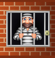 cartoon criminal in jail vector image vector image