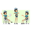 cartoon flat hipster girl character set vector image vector image