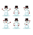 Christmas Snowman Smile Emoticon Icons Set vector image vector image