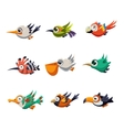 Colourful Flying Birds in Profile vector image
